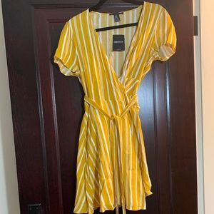 Gold and white pinstripe wrap dress